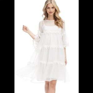 Exquisite Flowy Sheer White Floral Dress